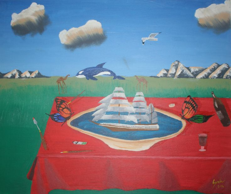 """The Boat from the table"" ulei pe carton 50x60 cm - oil on board 20x24 inches"