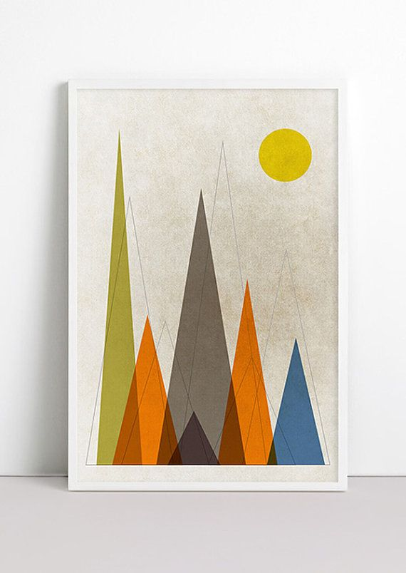 Mountains Retro Geometric Art Print Mountains are calling Triangle minimalist Mountains Print Rustic Wall Art Nursery Mid Century Home Decor...
