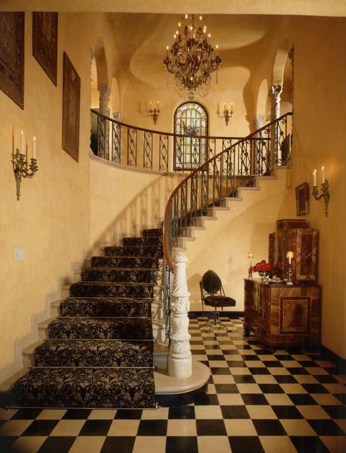 Old World, Gothic, and Victorian Interior Design. Note the checkered floor, marble stairs, and wrought-iron railing