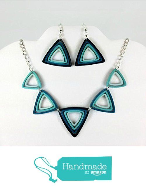 Triangles Necklace and Earrings Modern Art Deco Paper Quilling Jewelry Set…