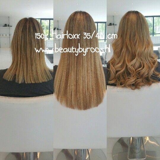 Before and after. Haar verlenging met 150 hairloxx hairextensions.  Kleuren:London, Rome en Moscow