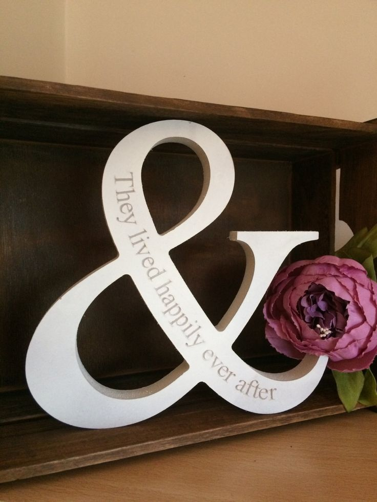ampersand wedding gift wood letter happily ever after light candle holder pink handmade painted mermaid lights cute candle vintage love by LoveartsGifts on Etsy