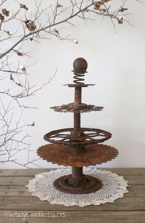 Christmas tree made from rusty junk parts