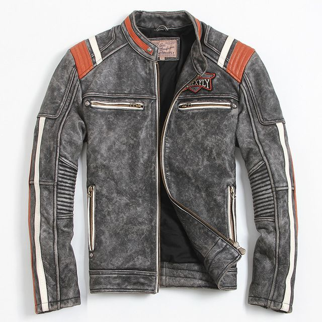 Men's Motorcycle Jacket Embroidery Skull Jacket Cowhide Coat Men's Leather Jacket