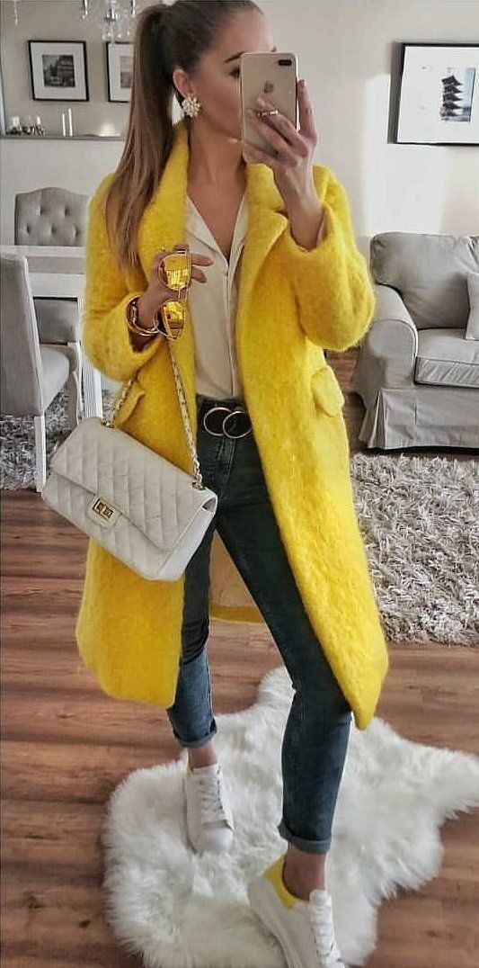 yellow fur coat #spring #outfits