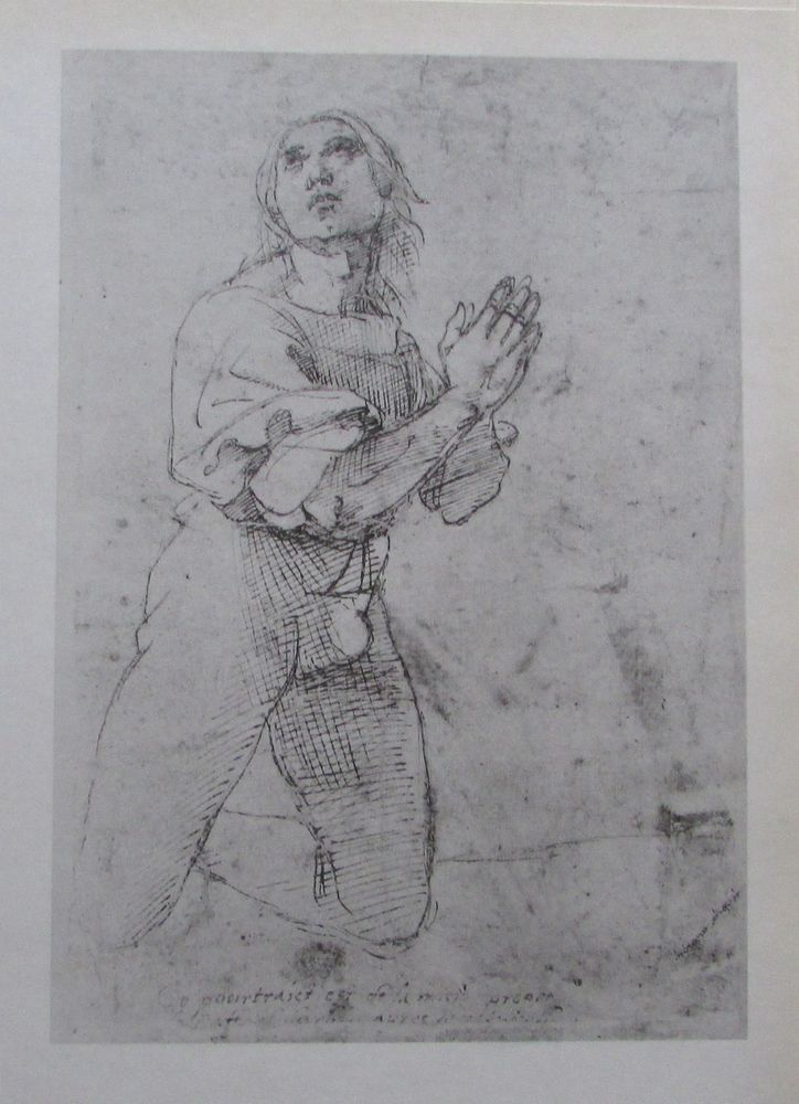 Raffael KNIEENDER BETENDER MANN Reproduktion Druck old print italienischer Maler