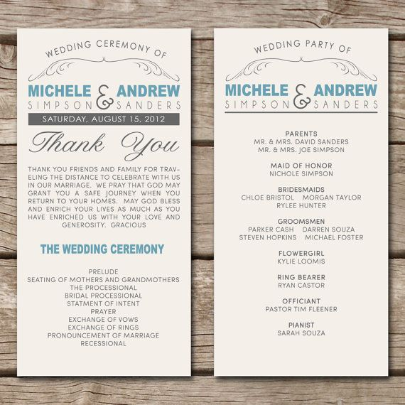 Rustic Country State // Wedding Program via Etsy - I just want to remember the header, none of the other stuff.