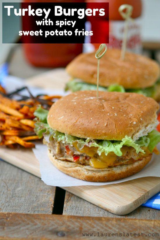 Turkey Burgers with Spicy Sweet Potato Fries @Lauren Brennan: Sweet Potato Fries, Turkey Burgers, Baked Sweet Potatoes, Sweets, Spicy Sweet, Food, Girls Night, Healthy Eating, Night Turkey