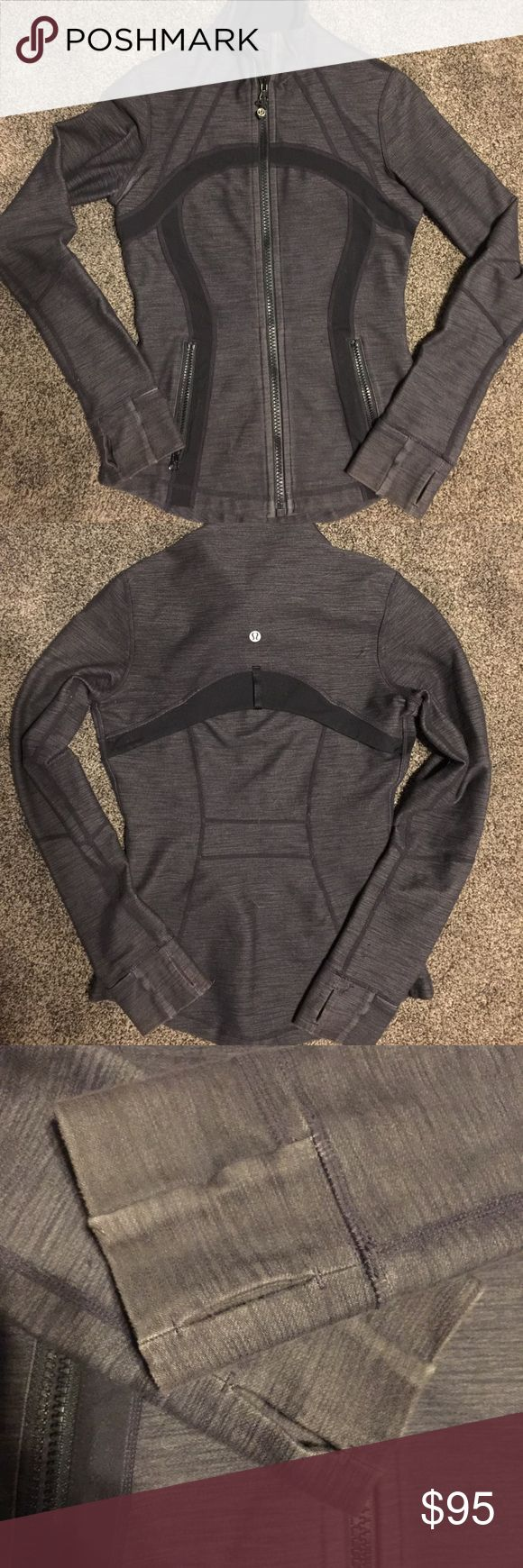 "Lululemon Define Jacket Heathered black/deep gray jacket from Lululemon. ""Define Jacket"" Size 4. Rare color. Thumb holes and fold over cuffs to keep hands warm. Shows a bit of wear on sleeves and has a pull on the arm, see photo.. lululemon athletica Jackets & Coats"