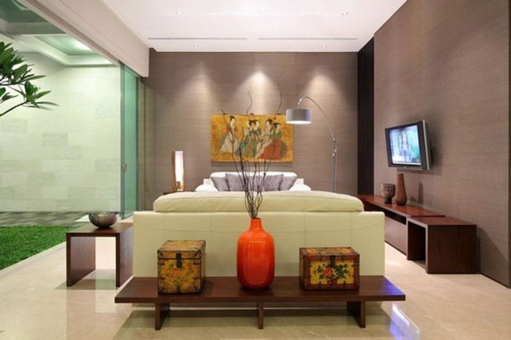 Interior Reasons Why Japanese Interior Design is Popular: Modern Living Room Ideas With Japanese Interior Design By Art Painting And Dry Twigs Ornament Also White Couch And Cushion And Wooden Cabinet Television And Wooden Coffee Table Vase Of Flower Decor