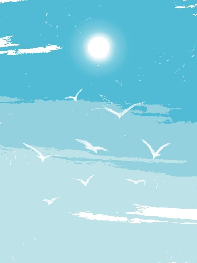 Illustration Wind Blue Sky White Clouds Seagull Background In 2020