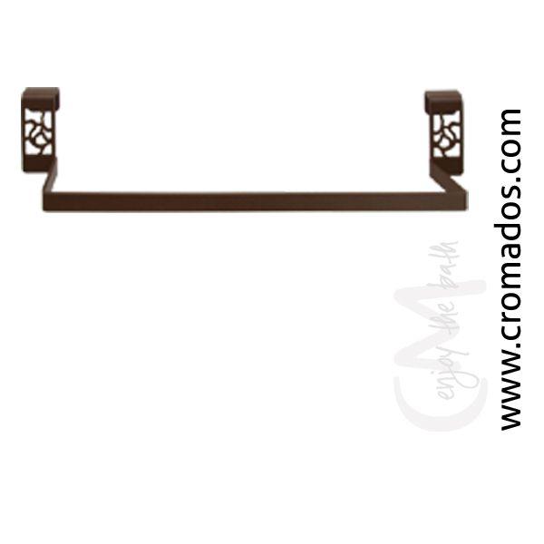 Toallero bajo encimera o mueble ARD30 (30 cm) y ARD40 (40 cm) de la serie Art Decó de CM Baños. Acabado en marrón forja con opción a blanco texturizado y negro forja. Estilo art decó rústico.