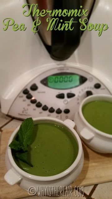 #Thermomix Pea & Mint Soup! Serve in warmed bowls garnished with a sprig of mint and some homemade Thermomix bread and butter.