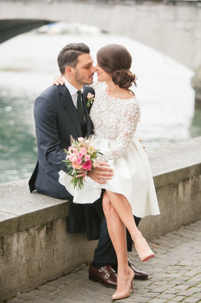 Switzerland Wedding Photographer Planning Dresses Courthouse