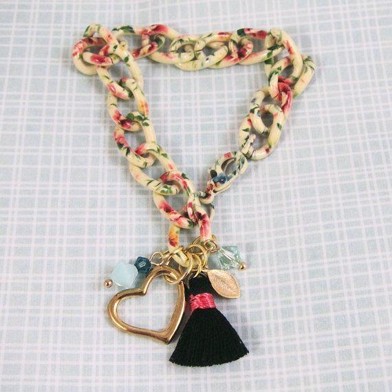 Floral Print Chain Bracelet with Black Tassel by SweetandPretty