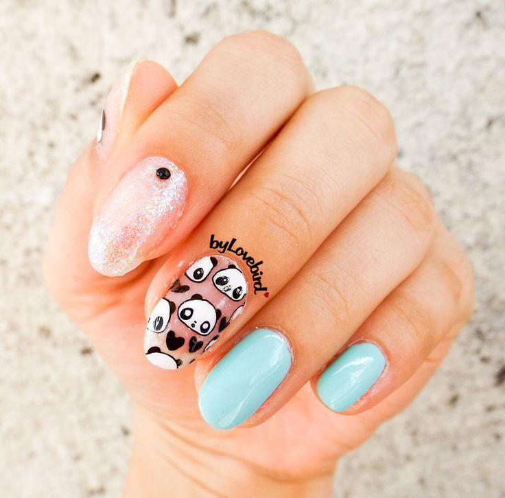 Cute panda nail art byLovebird  #nails #nailart #notd #nailswag #nailinspiration #cute #panda #fashion #style #summer #summernails #art #nailitdaily