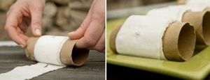 Create seed tape from toilet paper, glue, and toilet paper rolls. Easy peasy!