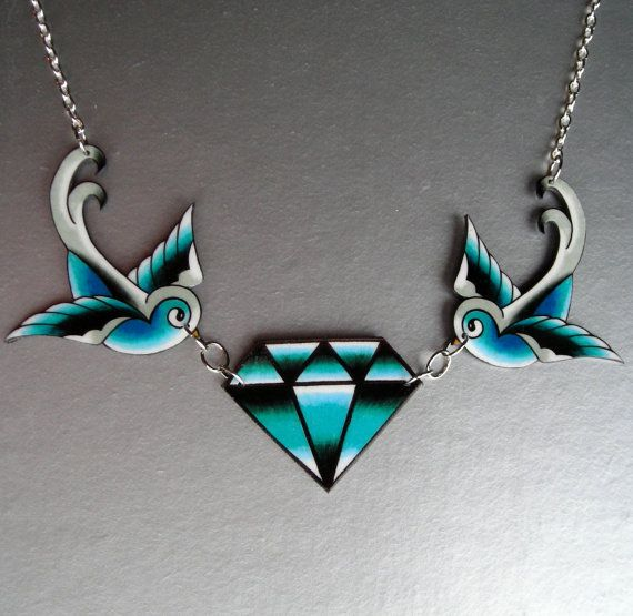 Diamond Swallows Necklace by theringleader on Etsy, $24,95