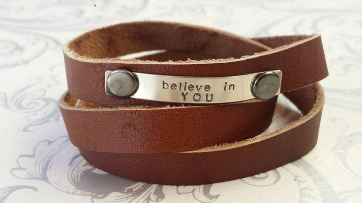Brown leather wrap bracelet, hand stamped leather bracelet, believe in yourself, sterling silver wrap bracelet, inspirational jewelry by CharitysCase on Etsy