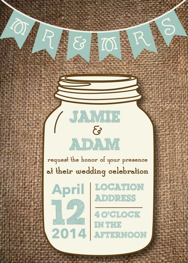 Free Jar Templates | Mason Jar Wedding Invitations