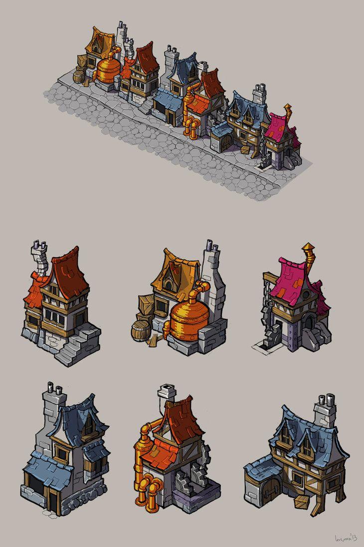 Steampunk houses by krzyma on deviantART