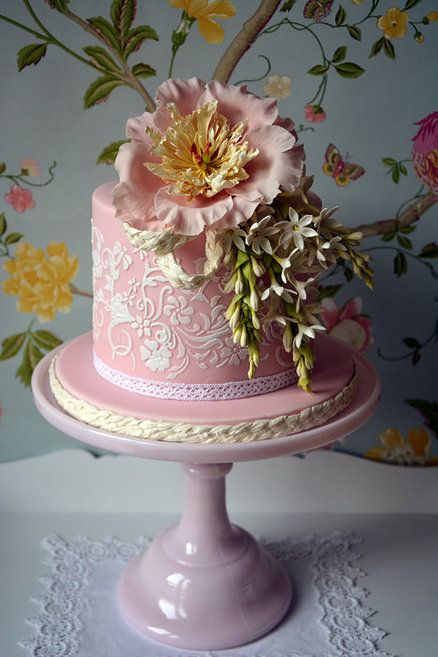 Gorgeous!  Peony and Tuberose Cake ~ Sugar paste peony and flower , hand scrolled  ~ all edible