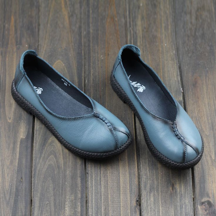 Mori Girl Flat Shoes Blue Brushed Leather 100% Natual Full-grain leather Shoes Casual Slip on Loafers  (2015-3-2)
