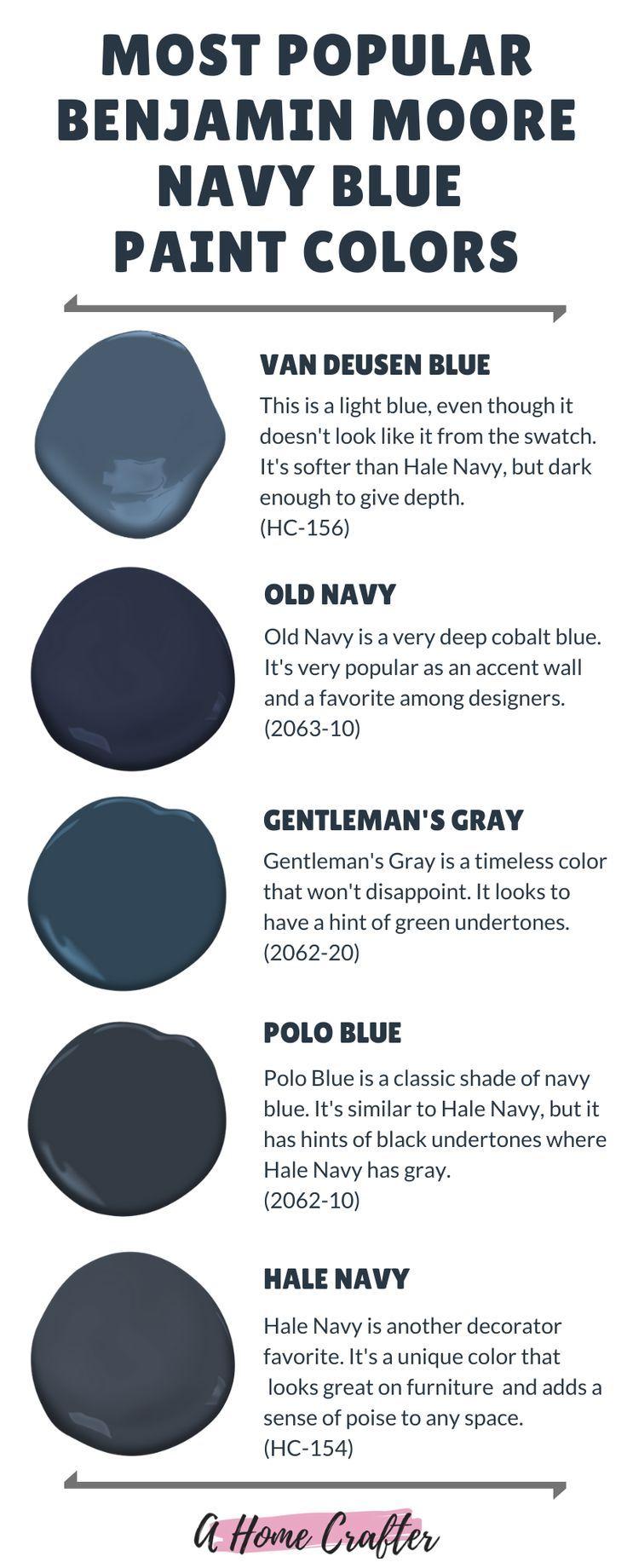 Most Popular Navy Blue Paint Colors By Benjamin Moore In 2020 Navy Blue Paint Navy Blue Paint Colors Blue Paint Colors