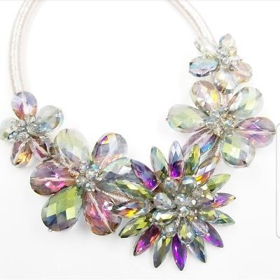 Huge Heliotrope Purple Green Crystal Flower Choker Necklace by GARDENIA NWT