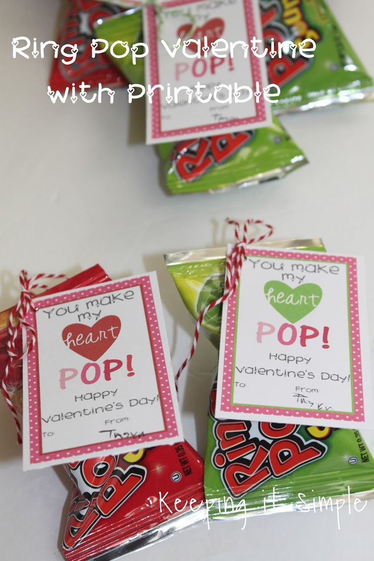 Homemade Valentines- Ring Pop Valentine with Printable