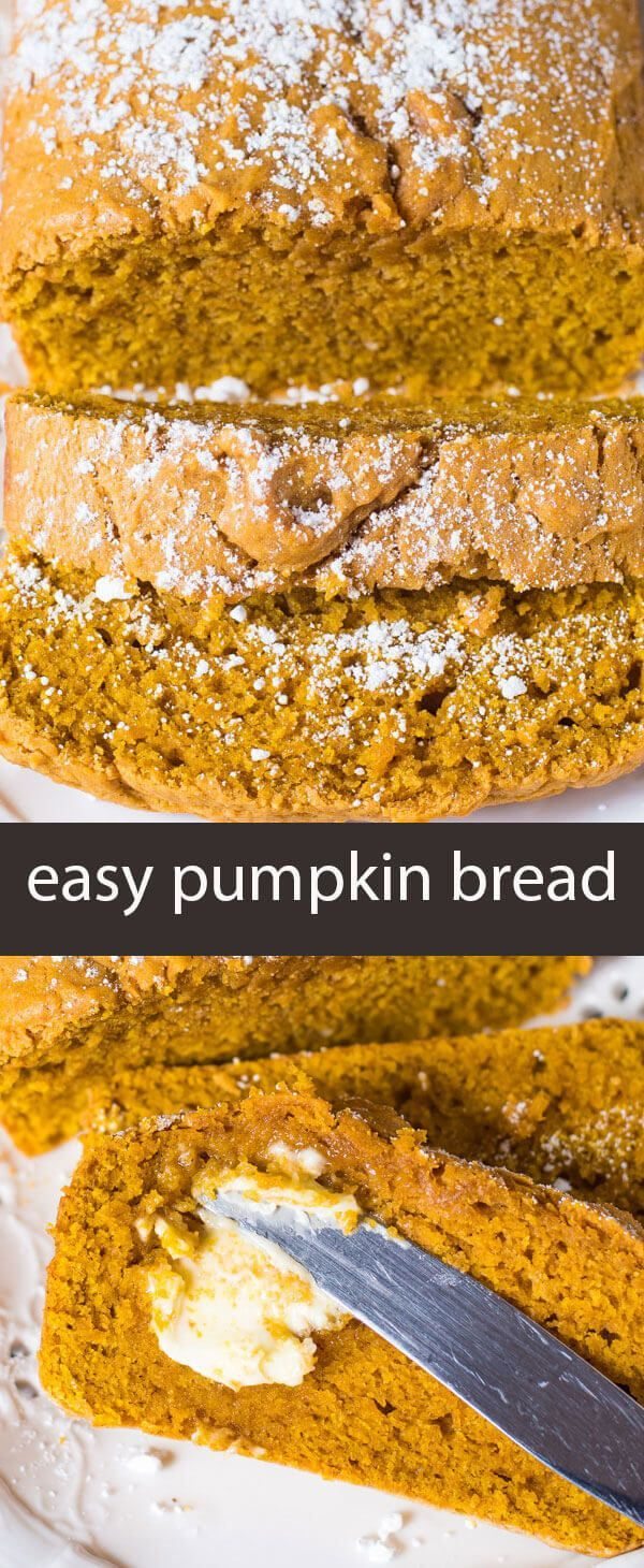 Easy Pumpkin Bread is a quick no-fail bread that has a simple pumpkin flavor. It makes two loaves so you can give one for a gift! easy pumpkin bread recipe / quick bread / best pumpkin bread / grandma's pumpkin bread / easy gift idea