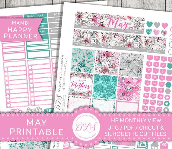 May Planner Stickers, May Monthly View, May Happy Planner, May Mambi Stickers, Printable Monthly Stickers, Mother's Day Planner, HPMV122