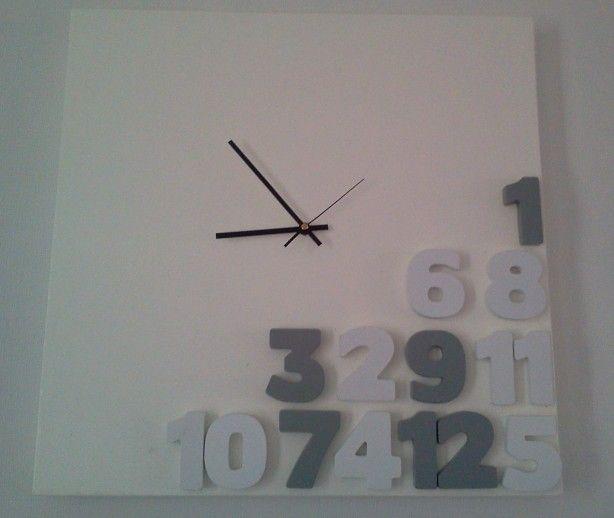 zelfgemaakte klok van canvas schilderij