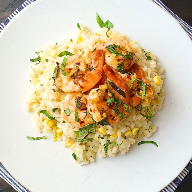 Sweet Corn Risotto with Sauteed Shrimp I Made with creamy risotto, sweet corn and meaty shrimp