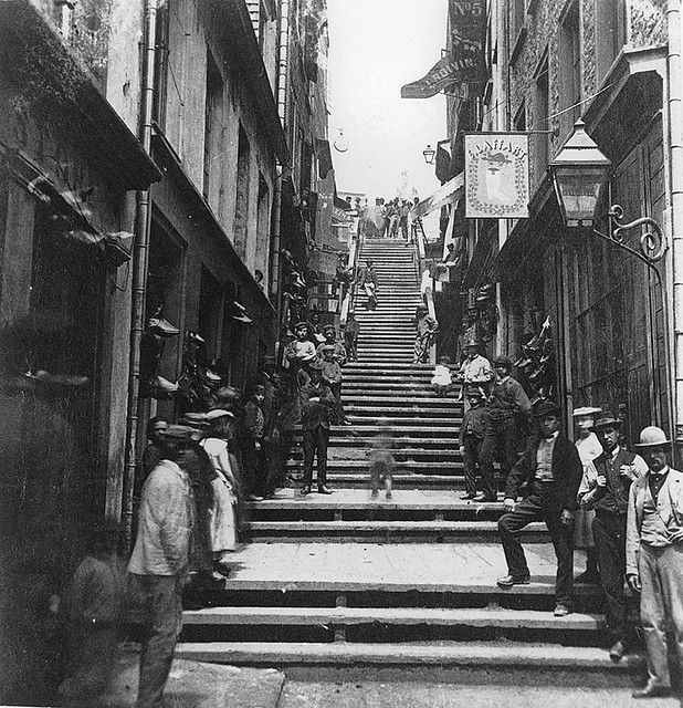 Breakneck Steps, Quebec City, QC, about 1870. I've walked on these stairs! :)