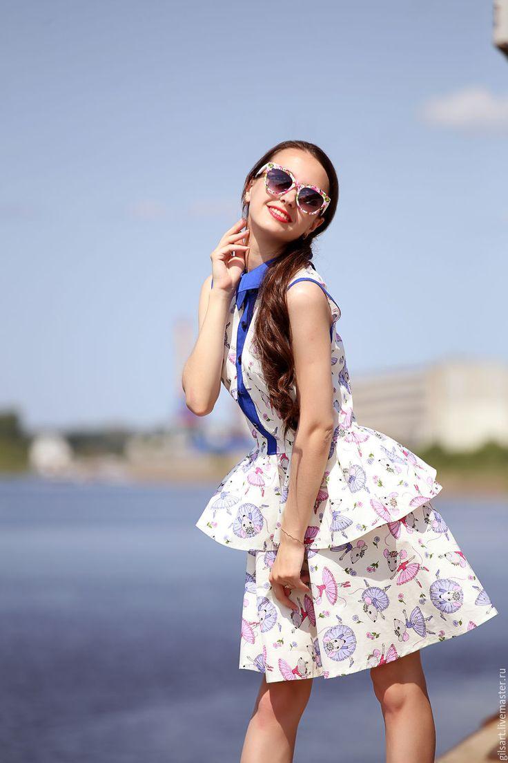 "Купить Платье ""Балерины"" - белый, рисунок, платье, мышата, летнее платье, Платье…"