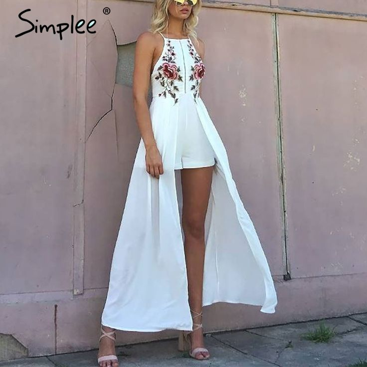 Simplee Elegant bodysuit women jumpsuit romper Backless embroidery combishort femme chritsmas playsuit summer overalls leotard-in Rompers from Women's Clothing & Accessories on Aliexpress.com | Alibaba Group
