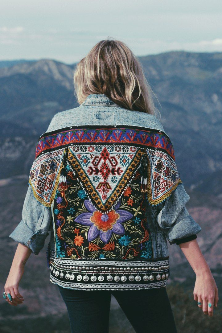 Embellished Boho Denim Jacket Embroidery Fashion