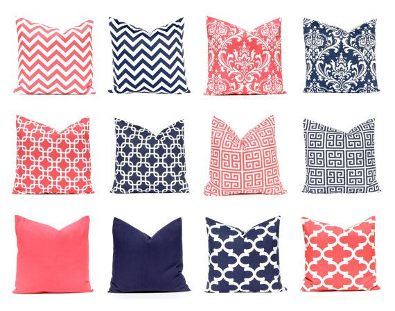 Navy and coral pillow covers. My most popular color combination in one easy listing. Mix and match coral and navy blue! Each print looks great