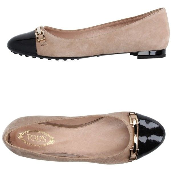 Tod's Ballet Flats ($390) ❤ liked on Polyvore featuring shoes, flats, beige, ballet shoes, round toe ballet flats, animal print flats, leather flat shoes and ballerina flat shoes