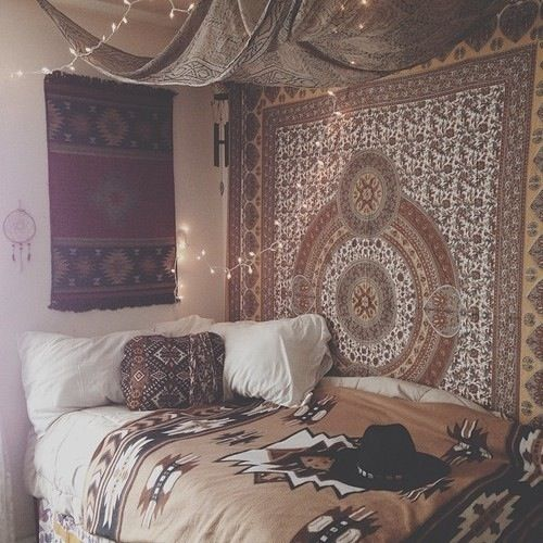 Uni room ideas - tapestry wall hanging and fairy lights love the tapestries and ceiling