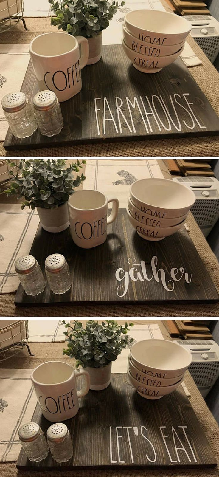 Wooden Placemat//tray Rae Dunn Inspired #placemat #tray #ad #raedunn #farmhouse #fixerupper #letseat #gather #farmhouse