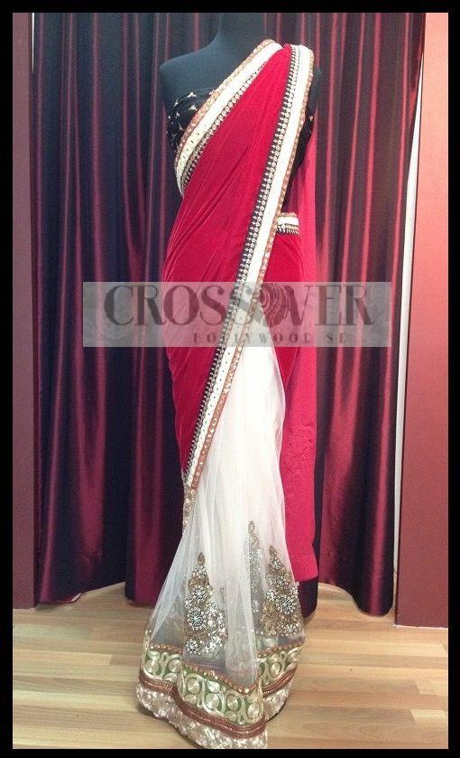 Red and white sari CBS