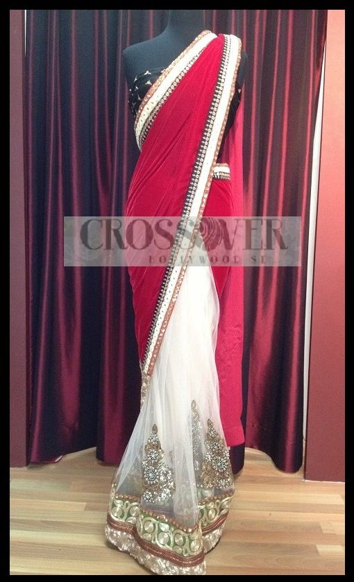 Red and white sari CBS