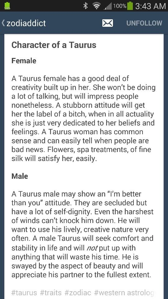 Character of a Taurus (female & male)