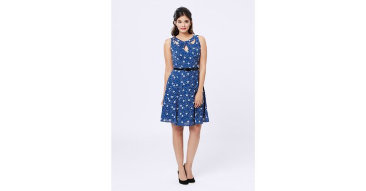 Review Australia - Amia Floral Dress Bright Blue