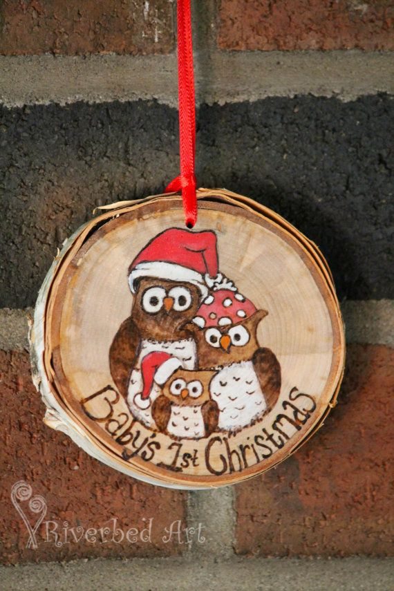 Baby's 1st Christmas Pyrography Owl Ornament by RiverbedART, $20.00