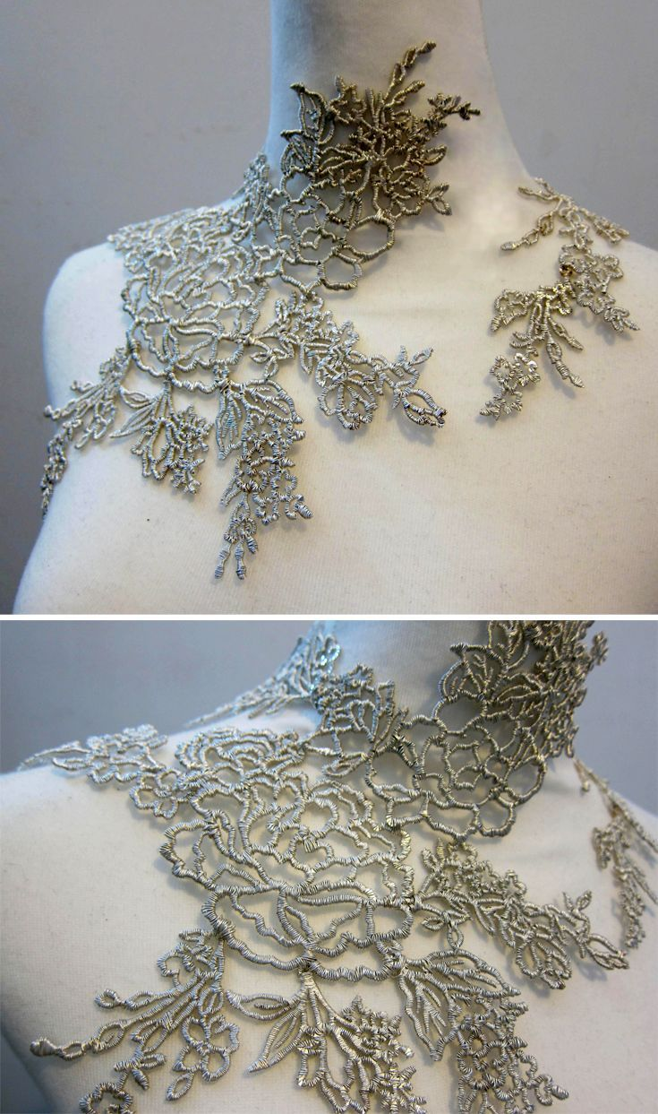Metal Lace Necklace with intricate wire-wrapped floral patterns - contemporary jewellery design; art jewelry // Heng Lee