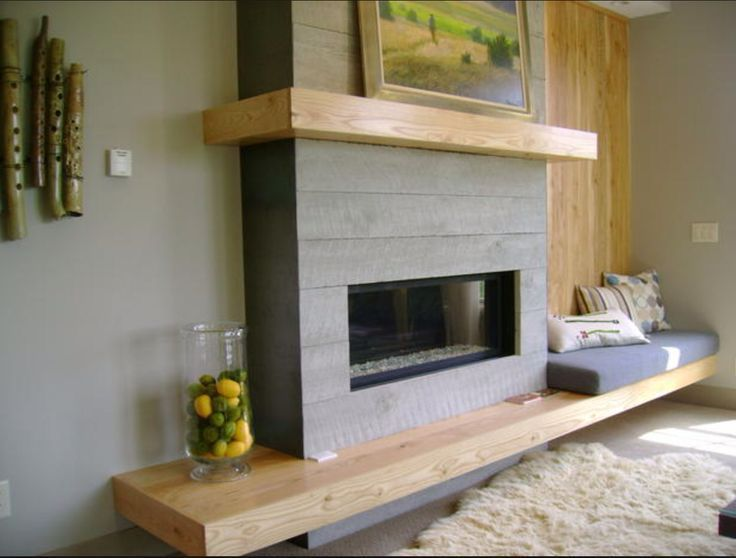 Modern shiplap fireplace with built-in bench.