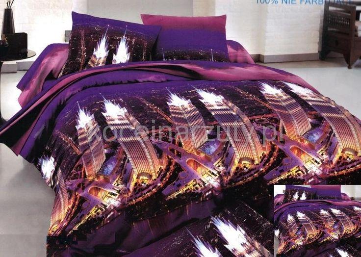 Super modna fioletowa pościel z motywem miasta